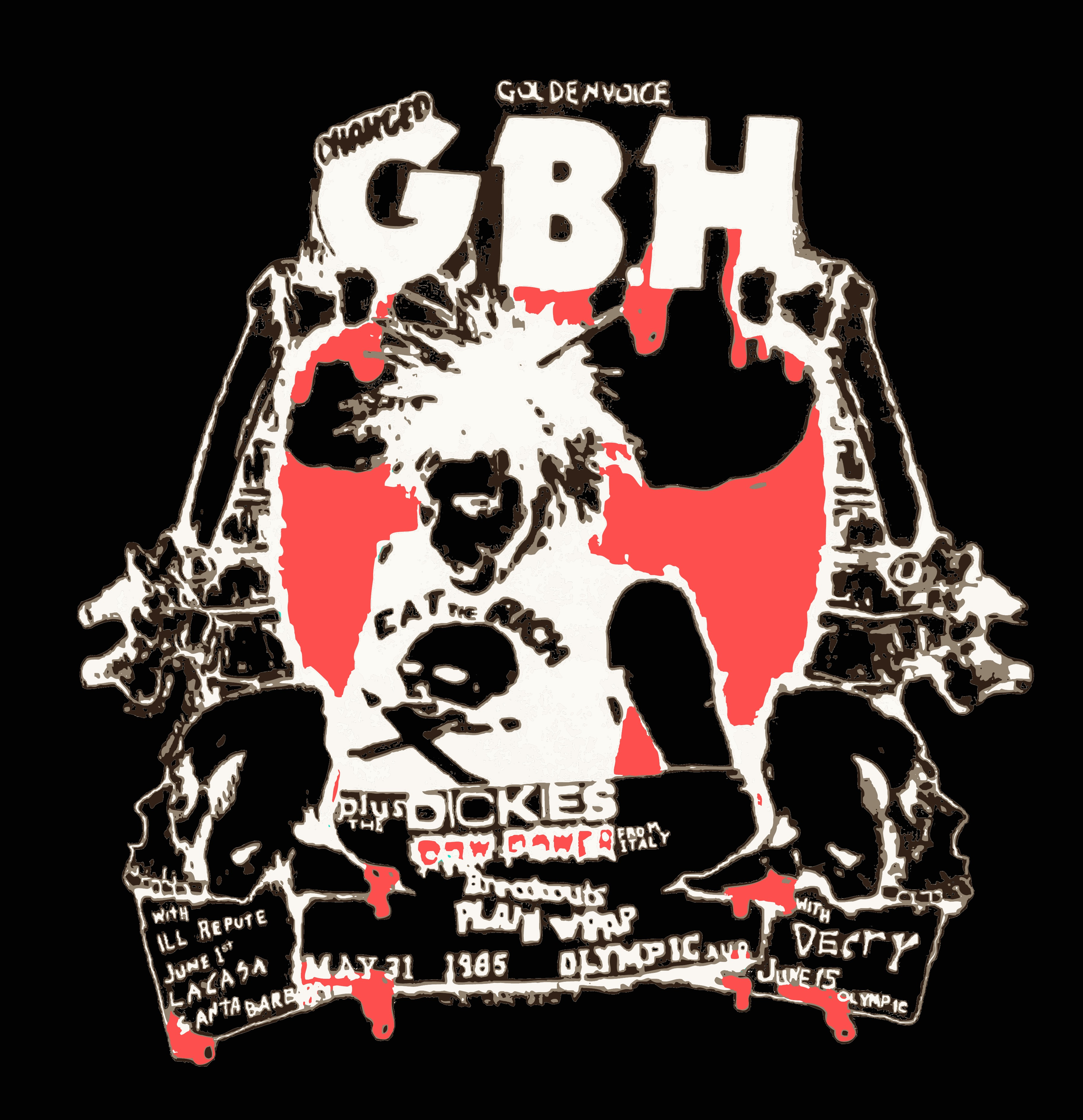 7578be11e Old Punk Rock Concert T shirt GBH Dickies Olympic Auditorium Tshirt Black (free  shipping)